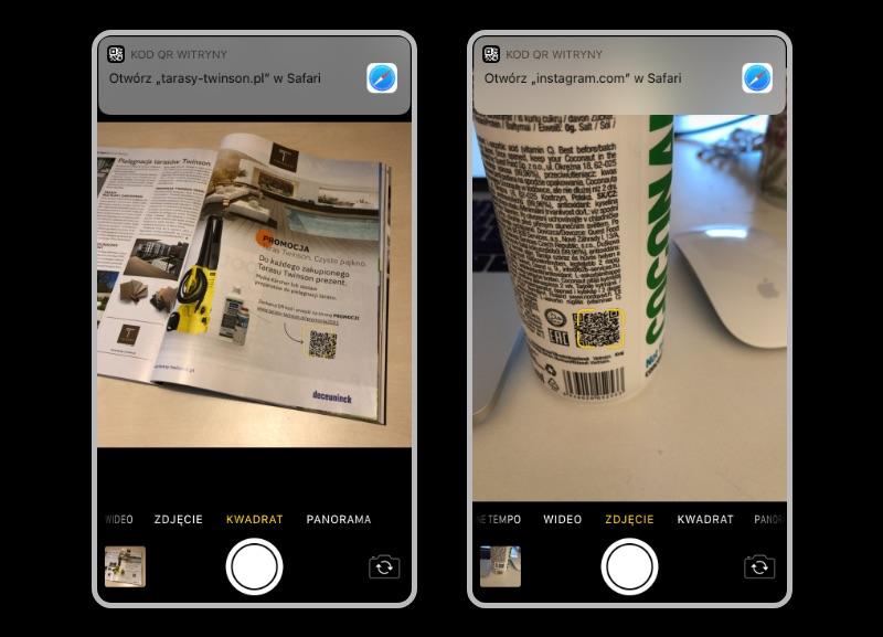 Czytnik Kod QR - iPhone Camera
