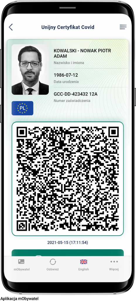 Unijny Certyfikat Covid - app mObywatel.